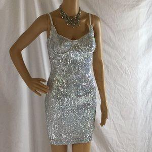 FashionNova Silver Sequin Dress. NWT